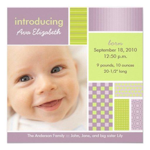 Square Patchwork Lilac Designer Birth Announcement