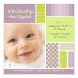 """Square Patchwork Lilac Designer Birth Announcement 5.25"""" Square Invitation Card"""