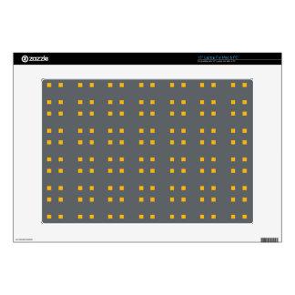 Square Pattern dark grey oranges Laptop Decal