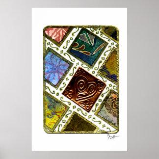 Square Pattern Different Techniques Copper Heart Print