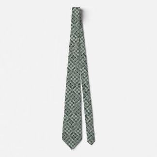 Square Pattern Necktie in Blue-Green