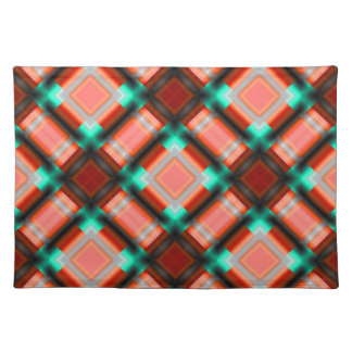 square pattern serie 1 orange placemats