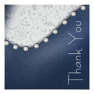 Square Pearl Birthday Thank you Card