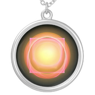 Square Peg in a Round Hole Round Pendant Necklace