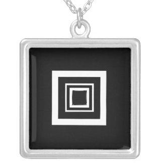 Square Pendant Black and White
