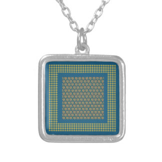 Square Pendant Necklace Hearts and Check Gingham