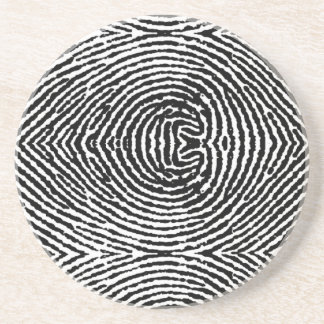 Square People Fingerprints Sandstone Coaster