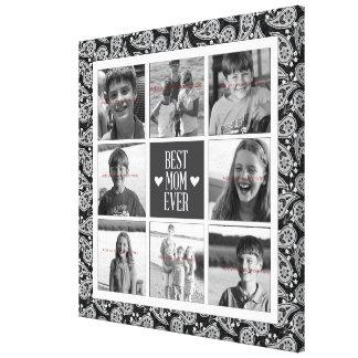 Square Photo Collage, Black&White Paisley 8 photos Canvas Print