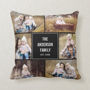 Square Photo Collage Custom Throw Pillow at Zazzle