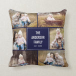 """Square Photo Collage Custom Throw Pillow<br><div class=""""desc"""">Background color can be customized online (to any color!). Designed by Berry Berry Sweet {www.berryberrysweet.com}</div>"""