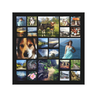 Square Photo Collage Grid with Your Pictures Stretched Canvas Print