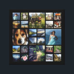 "Square Photo Collage Grid with Your Pictures Canvas Print<br><div class=""desc"">Make your own instagram collage or photography showcase canvas with this fun photo template. Upload 24 of your favorite photographs and they will be sized to fit and fill the squares in the grid. Four larger feature pics and 20 smaller square cropped pictures. It works best with square photos (ie:...</div>"