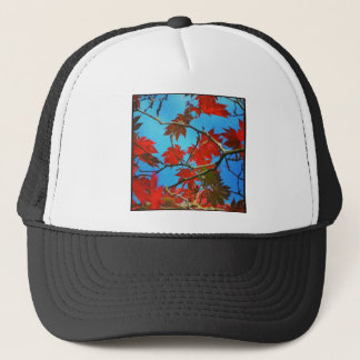 Square Photo - Red Autumn Leaves Trucker Hat