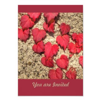 Square Photo Template Red Heart-Shaped Leaves
