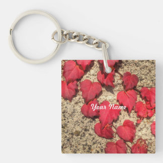Square Photo Template Red Heart-Shaped Leaves Key Chain