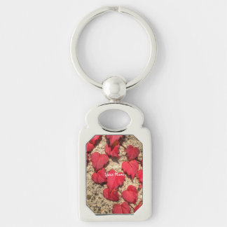 Square Photo Template Red Heart-Shaped Leaves Keychains
