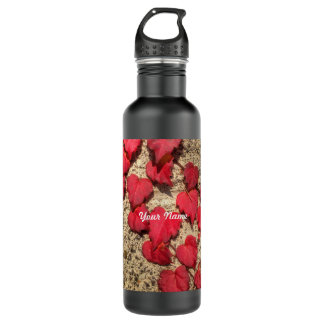 Square Photo Template Red Heart-Shaped Leaves Stainless Steel Water Bottle