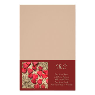 Square Photo Template Red Heart-Shaped Leaves Stationery