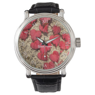 Square Photo Template Red Heart-Shaped Leaves Watches