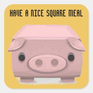 Square Pig Pun Fin Square Sticker