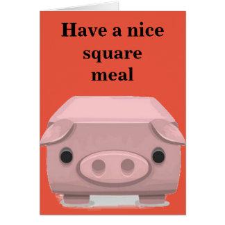Square Pig Pun Fun Card