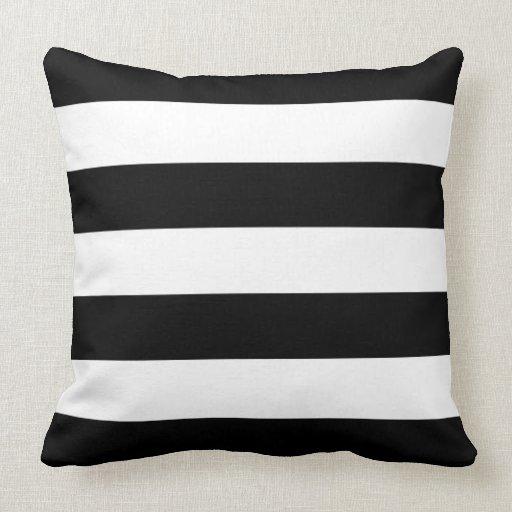 White Square Throw Pillows : Square Pillow, Black and White Stripes Throw Pillows Zazzle