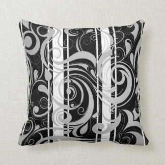 Square Pillow Black White Swirl Floral