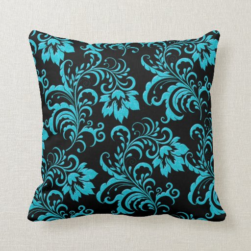 Teal And Black Decorative Pillows : Square Pillow Blue Teal Brocade Black Damask Zazzle