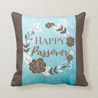 Square Pillow Happy Passover Blue Brown Wreath Flo