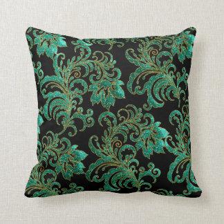 Square Pillow Jade Green Brocade Black Damask