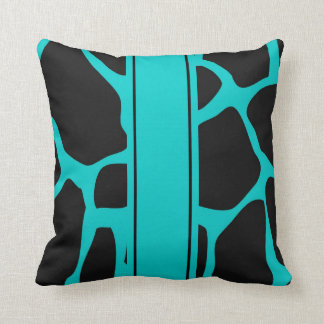 Square Pillow Teal Blue Aqua Black Animal Cow