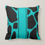 Square Pillow Teal Blue Aqua Black Animal Cow Pillow