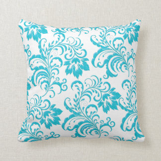 Square Pillow Teal Blue Aqua White Damask Floral