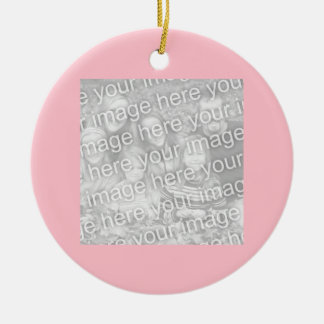 Square Pink Border Photo Double-Sided Ceramic Round Christmas Ornament