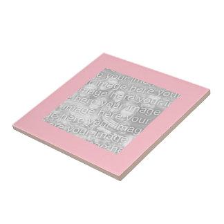 Square Pink Border Photo Tile