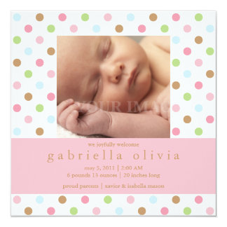 Square Pink Confetti Dots Birth Announcement