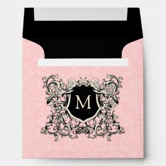 Square Pink Damask Monogrammed Envelopes