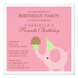 Square Pink Elephant Birthday Party Invitation