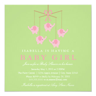 Square Pink Elephant Moblie Baby Shower Invitation