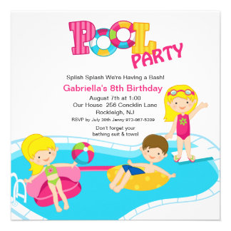 Square Pink Pool Party Girls  Birthday Invitation