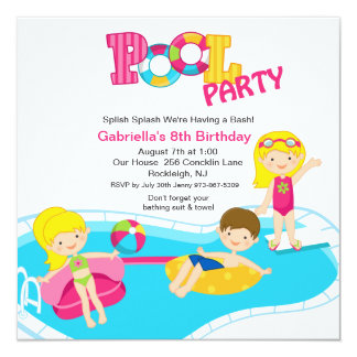 "Square Pink Pool Party Girls  Birthday Invitation 5.25"" Square Invitation Card"