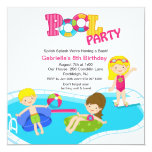 Square Pink Pool Party Girls  Birthday Invitation
