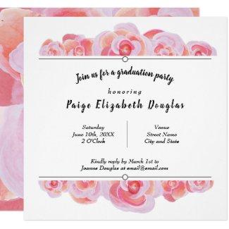 Square, Pink Roses Graduation Invitations