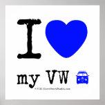 i [Love heart]  my vw [Campervan]  i [Love heart]  my vw [Campervan]  Square Posters