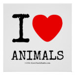 I Love Heart Animals Square Posters