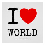 I Love Heart World Square Posters