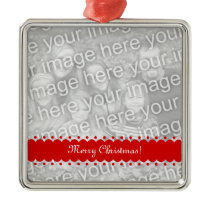 Square premium Christmas photo ornament