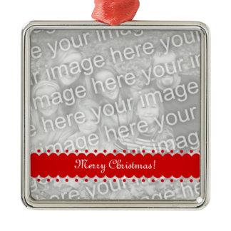 Square premium Christmas photo ornament