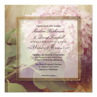 Square Pretty Blush Pink Hydrangea Vintage Wedding Card