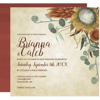 Square Protea Flowers Wedding Invitation